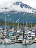 Uppståndelsen för den Alaska Seward nå en höjdpunkt den små fartyghamnen Arkivbild