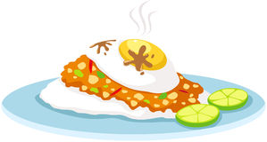 Uppståndelsen stekte chilibasilika med rice och stekte ägget stock illustrationer