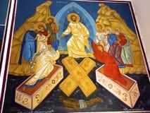 Uppstigen Madaba för kyrka för KristusfreskomålningSt George ` s Jordanien arkivbild