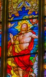 Uppstigna Jesus Stained Glass All Saints kyrkliga Schlosskirche Witten Royaltyfria Bilder