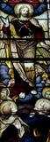 Uppstigningen av Jesus Christ i målat glass arkivfoton