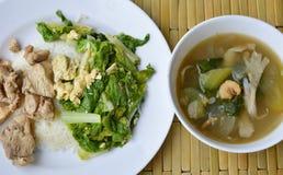 Uppståndelse stekte kinakål, och salt höna på ris äter med blandad grönsaksoppa Arkivfoto