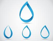Uppsättning av abstrakt droppe för blått vatten Arkivfoto