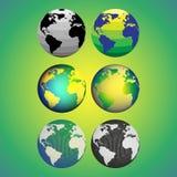 Uppsättning av abstrakta färgjordklot, världskartavektor Royaltyfria Bilder