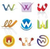 Uppsättning av 9 abstrakta W-bokstavssymboler - dekorativa beståndsdelar Arkivbild