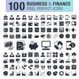 Uppsättning av 100 affärs- och finanssymboler Arkivfoto
