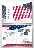 Uppsättning av affärsmallar för broschyr, tidskrift, reklamblad, häfte eller årsrapport Memorial Day bakgrund med abstrakt begrep Arkivfoto