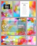 Uppsättning av affärsmallar för presentation, broschyr, reklamblad eller häfte Färgrik bakgrund, Holi beröm, vektor Arkivbild