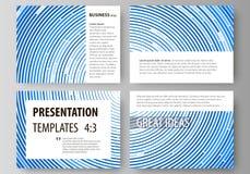 Uppsättning av affärsmallar för presentationsglidbanor Lätta redigerbara abstrakta vektororienteringar i plan design Blått färgar Royaltyfri Foto
