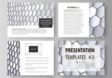 Uppsättning av affärsmallar för presentationsglidbanor Lätta redigerbara vektororienteringar i plan design Gråa färgsexhörningar  Arkivbilder