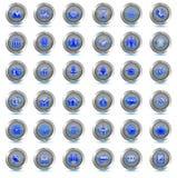 Uppsättning av affärssymboler 36 vektorknappar Sista minutblåttneon Arkivbild