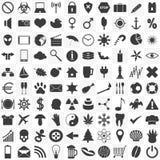 Uppsättning av 100 allmänna olika symboler för ditt bruk Arkivbild