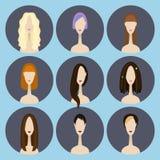 Uppsättning av avatarsymboler Arkivfoto
