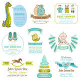 Uppsättning av baby shower- och ankomstkort - med stället för din text Royaltyfria Foton