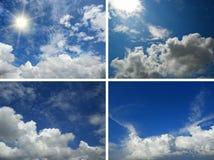 Uppsättning av bakgrunder med blå himmel och moln Arkivfoto