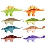 Uppsättning av bepansrade dinosaurier Royaltyfria Bilder