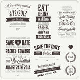 Uppsättning av beståndsdelar för design för bröllopinbjudan typografiska Royaltyfri Foto