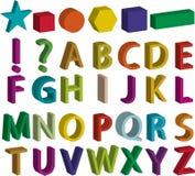 Uppsättning av bokstäver för alfabet 3d, grundläggande former och skiljetecken Arkivbild
