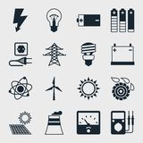 Uppsättning av branschmaktsymboler i plan designstil Arkivbild