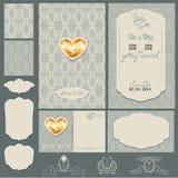 Uppsättning av bröllopinbjudankort med blom- beståndsdelar Royaltyfri Fotografi