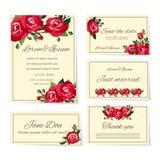 Uppsättning av bröllopinbjudankort med rosor Arkivbild