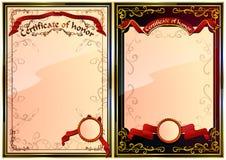 Uppsättning av certifikatet av heder. 02 (vektor) Royaltyfria Foton