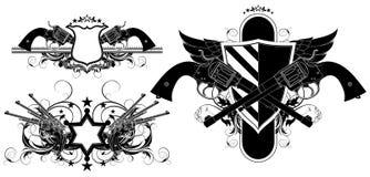Uppsättning av dekorativa beståndsdelar med vapen Royaltyfri Bild