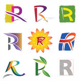 Uppsättning av dekorativa bokstäver R - symboler och beståndsdelar Royaltyfria Bilder