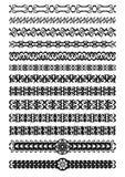 Uppsättning av dekorativa gränser för art déco i svart vit, tappningprydnad för boken, broschyr, affisch, meny, inbjudan, eps 10 Royaltyfri Fotografi