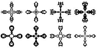 Uppsättning av dekorerade isolerade kors Arkivfoto