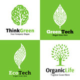 Uppsättning av den ekologiska logoen, symboler och designbeståndsdelen Royaltyfria Bilder