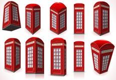 Uppsättning av den engelska röda telefonkabinen Arkivbild