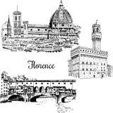 Uppsättning av den Florence Ponte Vecchio bron in, Italien Den drog vektorhanden skissar Arkivfoto
