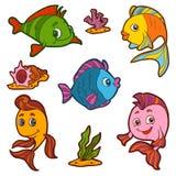 Uppsättning av den gulliga fisken och naturliga platser, vektorklistermärkear Arkivfoto