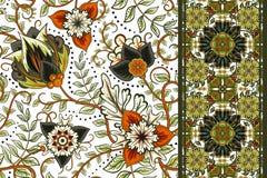 Uppsättning av den sömlösa blom- modellen och gränsen för design Illustration för handattraktionvektor bakgrund blommar seamless Royaltyfri Foto