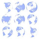 Uppsättning av det abstrakta jordklotet för nio vektor som isoleras på vit bakgrund Royaltyfri Foto
