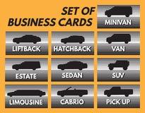 Uppsättning av det automatiska affärskortet med olika bilkroppar Royaltyfri Foto