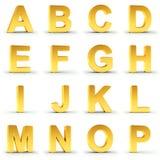 Uppsättning av det guld- alfabetet från A till P över vit Royaltyfria Foton