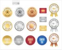 Uppsättning av det högvärdiga emblemet och etiketten för kvalitets- garanti Royaltyfria Foton