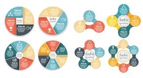 Uppsättning av diagrammet för information om affärscirkel, diagram Arkivfoto