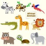 Uppsättning av djungeldjur Gulliga tecknad filmafrikandjur Arkivfoton