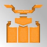 Uppsättning av emblem, etiketter och band för text Arkivbilder