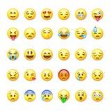 Uppsättning av emoticons, emoji på Royaltyfri Foto