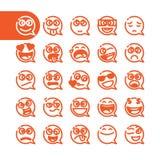 Uppsättning av emoticons för emojianförandebubbla Arkivbild