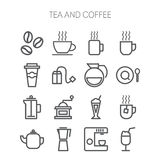 Uppsättning av enkla symboler för restaurangen, kafé, kaffe Royaltyfria Bilder