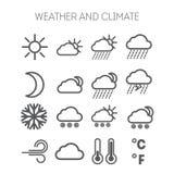 Uppsättning av enkla väder- och klimatsymboler Royaltyfri Bild