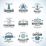 Uppsättning av etiketter och tecken för tappning nautiska med Arkivbilder