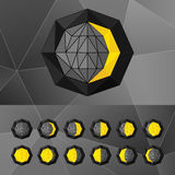 Uppsättning av faser av månesymbolerna i en triangulär stil Arkivfoton