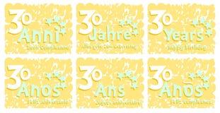 Uppsättning av födelsedaghälsningkortet för 30 år Fotografering för Bildbyråer