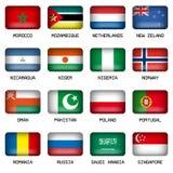 Uppsättning av flaggor för tillstånd för rektangelvärldsöverkant Arkivbild